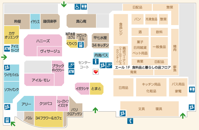 ショッピングセンターマイン1Fフロアマップ